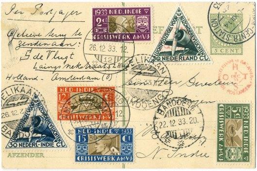 Een met de Pelikaan vervoerd poststuk op de Kerstvlucht 1933