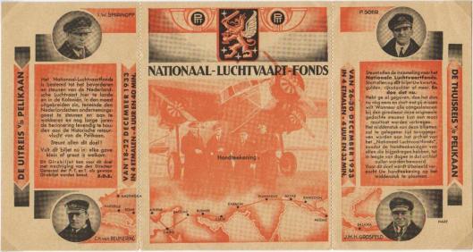 Postgirobiljet, uitgegeven door het Nationaal Luchtvaart Fonds, waarop de recordvlucht van de Pelikaan is beschreven