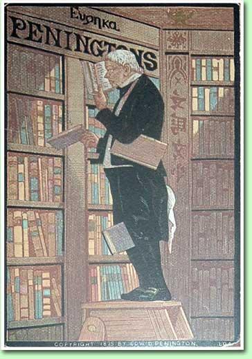 Reclamekaart van boekhandel Pennington uit Philadelphia, 1875 (site: Boekendingen)