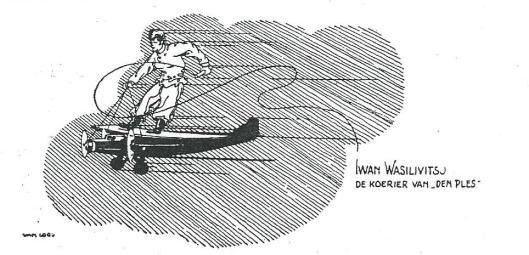 Cartoon van Iwan W. Smirnoff als de koerier van Plesman, uit een boek over luchtvaartgeschiedenis