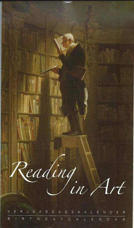 'De Boekenworm' van Carl Spitzweg op de voorzijde van een verjaardagskalender 'Reading in Art'.