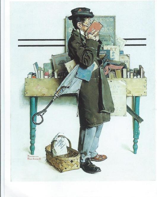 Olieschilderij van Amerikaanse kunstenaar Norman Rockwell, 'The Bookworm', 1986, geïnspireerd op Carl Spitzweg