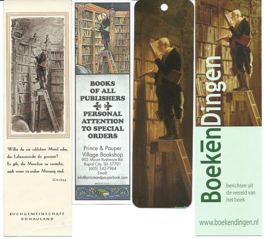 Boekenleggers v.l.n.r. 1) site BoekenDingen, 2) Ars Edition (Duitsland), 3) Bookshop in Rapid City, USA, 4) Buchgemeinschaft Donauland