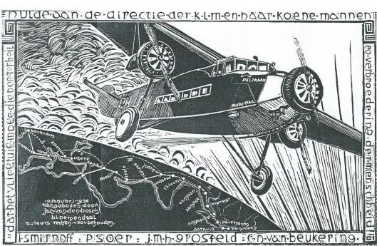 De bekende kunstnijveraar Jac. van den Bosch uit Bloemendaal vervaardigde deze illustratie in herinnering aan de historische Pelikaan-vlucht