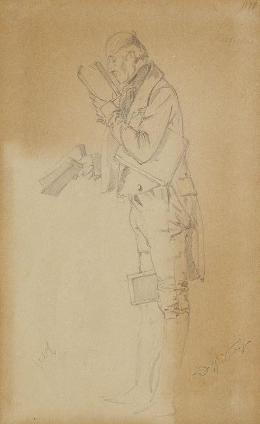 Getekende schets die Spitzweg maakte voordat hij aan het schilderij begon.