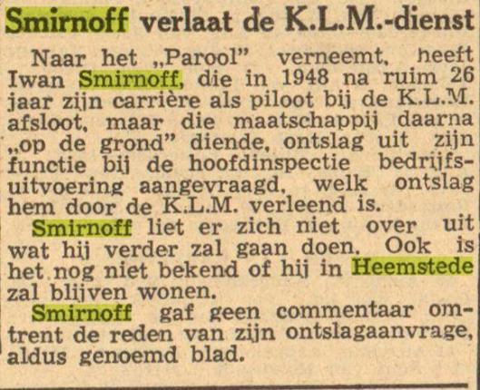 Bericht over afscheid van Smirnoff van de KLM uit Leeuwarder Courant, 1-9-1949