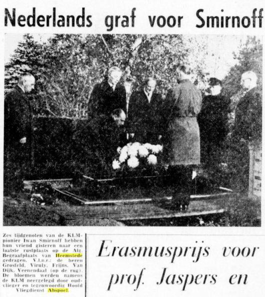 Herbegrafenis van Smirnoff in Heemstede (De Telegraaf, 21 november 19