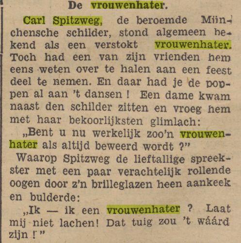 Spitzweg was naar wordt aangenomen homofiel, maar of hij een vrouwenhater was? Bericht uit: De Indische Courant van 22 mei 1936