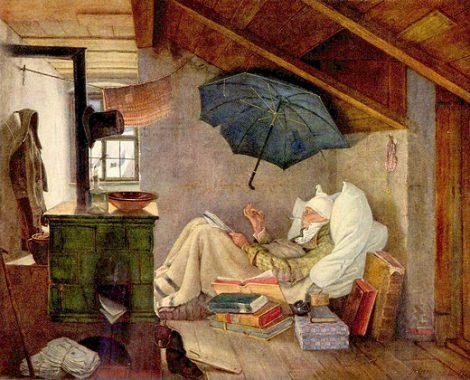 Naast 'de Boekenwurm' is 'de Oude Dichter' het meest bekende schilderij van Carl Spitzweg