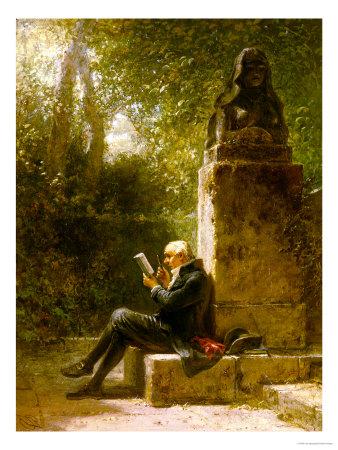 Spitzweg lezend in het park