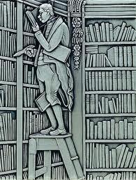 Tinnen reliëf van 'Der Bücherwurm'