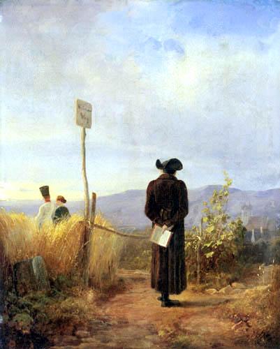 Schilderij 'De verboden weg' van Carl Spitzweg