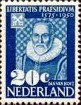 Jan van Hout (1542-1609) was behalve secretaris ook stadsarchivaris van Leiden. Postzegel uit 1950