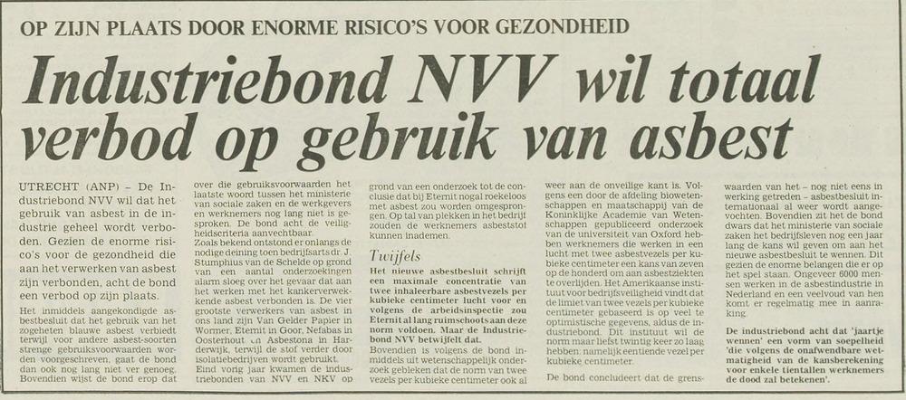 Pleidooi van Industriebond NVV voor een totaalverbod van asbest (Leeuwarder Courant van 14-4-1977)