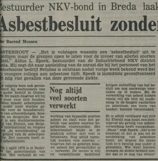 Kritiek op Asbestbesluit. Uit: Nieuwe Leidsche Courant van 10 mei 1979