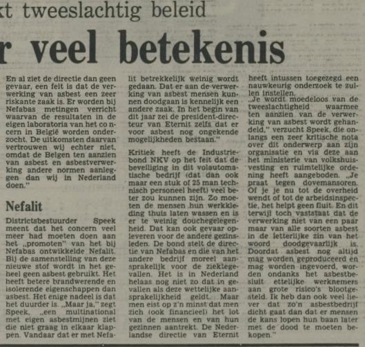 Vervolg van: Asbestbesluit zonder veel betekenis. In: Nieuwe Leidsche Courant van 10 mei 1979.