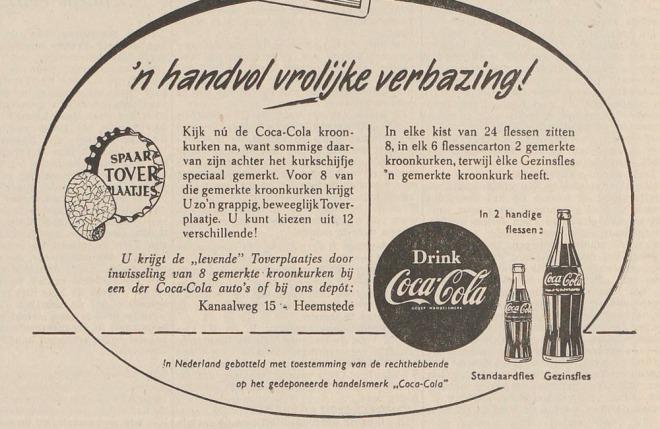 De destijds populaire cocacola plaatjes konden ook via het depot te Heemstede worden betrokken (Haarlem's Dagblad)