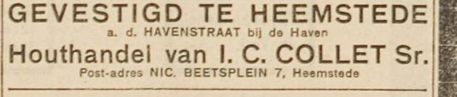 Bericht van opening Collet houthandel/timmerfabriek. Haarlem's Dagblad, 1 mei 1924.