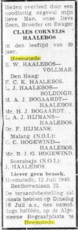 Overlijdensbericht familie C.C.Haalebos