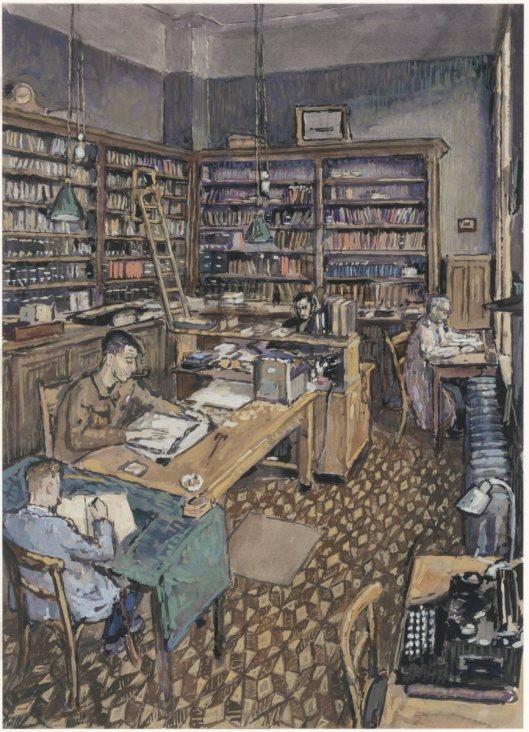 Aquarel van de studiezaal in het oude archiefgebouw te Dordrecht. Door Hans Petri, circa 1948.