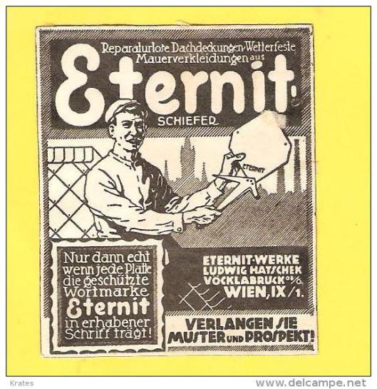 Oude reclame van de nog bestaande Eternit-fabrieken in Vöckloburg, Oostenrijk