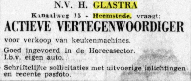 Advertentie van n.v.Gl;astra uit de Telegraaf van 4-12-1965