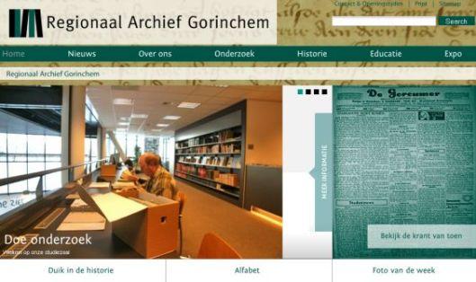 Homepage van Regionaal Archief Gorinchem