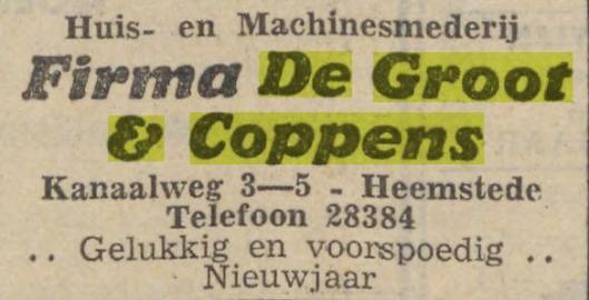 Advertentie van De Groot & Coppens, uit Haarlems Dagblad van 31-12-1941