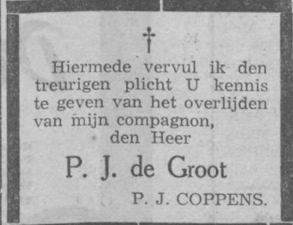 Overlijdensbericht van mede-oprichter P.J.de Groot. Uit Haarlems Dagblad van 19 juni 1940