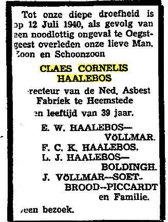 Overlijdensbericht van familie C.C.Haalebos uit De Telegraaf, 1940