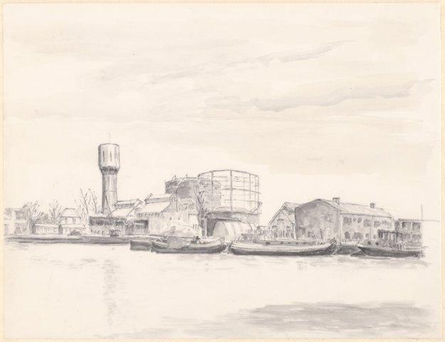 Gezicht naar het Noorden op de haven Heemstede. Tekening door Onno Hendrik Dijkstra (1899-1976) (NHA)
