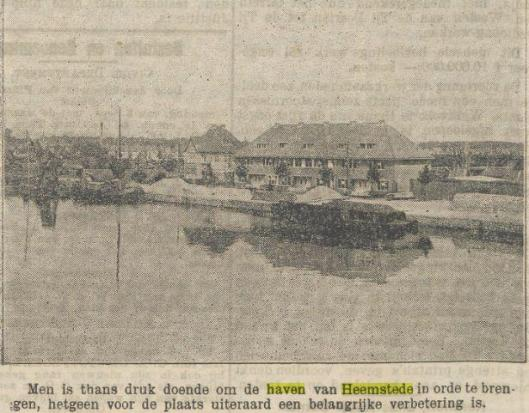 Bericht in 1928 uit het Nieuws van den dag voor Nederlandsch-Indiï waarin men op de hoogte gesteld van een nieuw aangelegde haven in het vaderland.