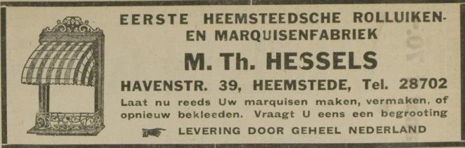 Directeur van de rolluiken- en markiezenfabriek was de heer M.Th.Hessels (1929)