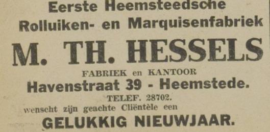 Nog een advertentie uit Eerste Heemsteedse Courant  van 30-12-1930.  Vanwege opgelegde verduistering zou in 1940 nog een laastste  opleving plaatsvinden, van het bedrijf 'Eerste Heemsteedsche Rolluiken- en Marquisenfabriek'.