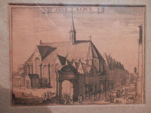 De Janskerk op gegraveerde kaart van Haarlem door Romeyn de Hooghe (1645-170-8)