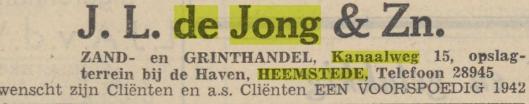 Advertentie van J.L.de Jong & Zn. uit Haarlem's Dagblad van 31-12-1941