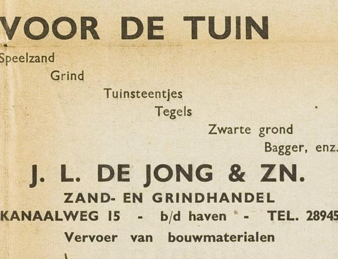 Advertentie van J.L.de Jong uit 1940.