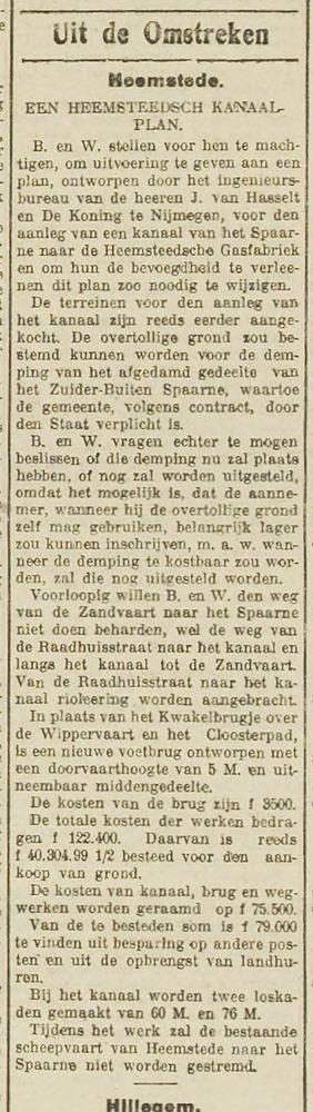 Artikel over aanleg van Het Heemsteeds Kanaal, een voetbrug en twee loskaden uit het Haarlem's Dagblad van 23 september 1915.