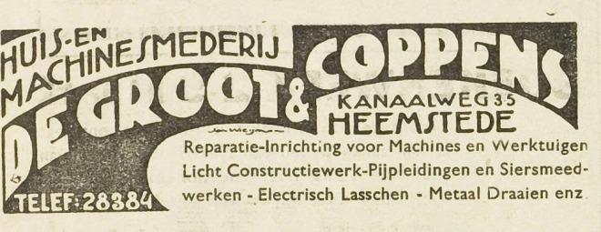 Advertentie van De Groot & Coppens uit EHC, 29-2-1940