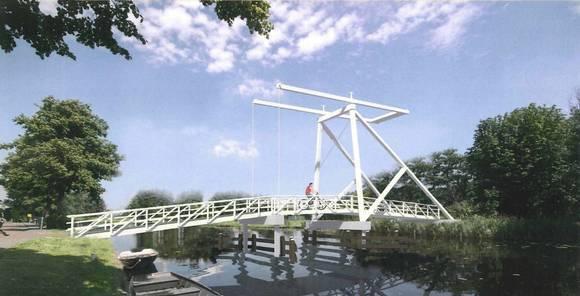 Tekening van de nieuwe kwakel met klassieke ophaalbrug over het Heemsteeds Kanaal die in 2015 ter vervanging van de hoge voetbrug in opdracht van de gemeente wordt gebouwd door aannemer Damsteegt uit Meerkerk, aan wie dit werk is gegund als winnaar van een prijsvraag.