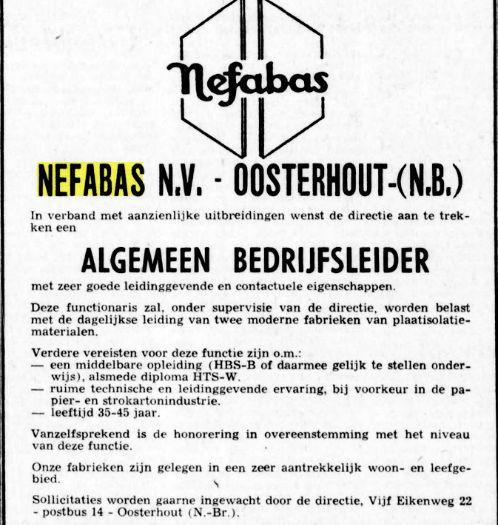 Advertentie in verband met uitbreiding Nefabas-asbestfabriek in Oosterhout. Uit: De Telegraaf van 5 juni 1971.