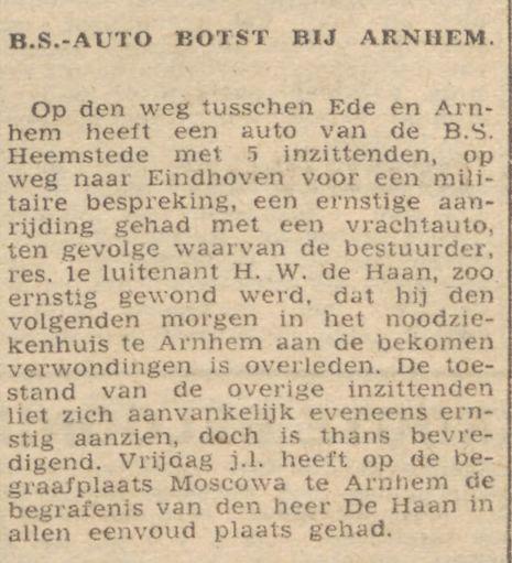 Bericht van overlijden H.W.de Haan, uit: Trouw van 27 juni 1945