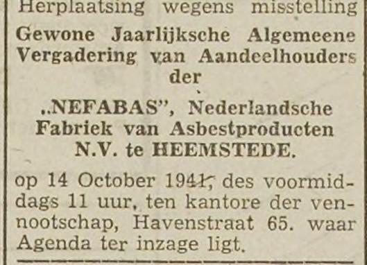 Aankondiging aandeelhoudersvergadering Nefabas op 14 oktober 1941 (Haarlem's Dagblad)