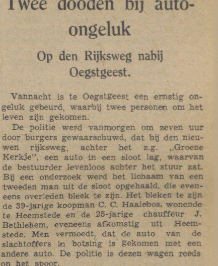 Overlijden C.C.Haalebos en J.Bethlehem in Oegstgeest. Uit: Leidsch Dagblad, 12 juli 1940