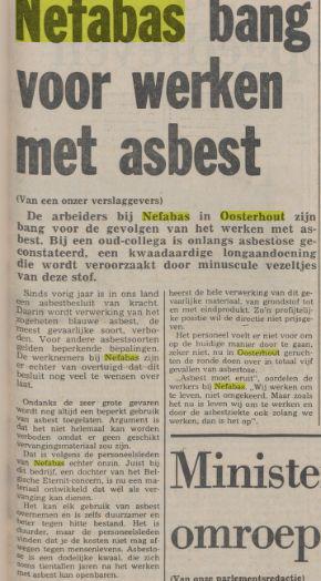 Bericht over angst bij werknemers asbestfabriek in Oosterhout. Uit: De Waarheid van 11 mei 1979