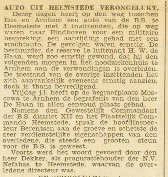 Overlijden na een auto-ongeluk van de heer H.W.de Haan. Uit: Haaelem's Dagblad van 25-6-1945.