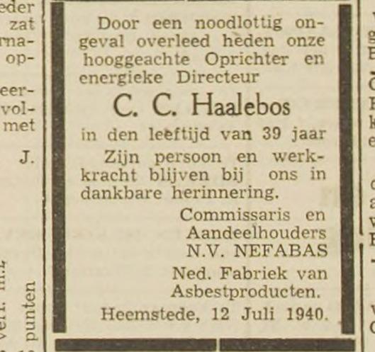 Overlijdensbericht directeur C.C.Haalebos door n.v. Nefabas (Haarlem's Dagblad)