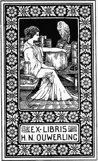 Exlibris van H.N.Ouwerling, ontworpen door Johan Jacobs. Ouwerling beschikte in zijn huis 'de Romeyn' in Deurne over een indrukwekkende bibliotheek waarvan de jonge plaatsgenoot Antoon Coolen dankbaar gebruik maakte.