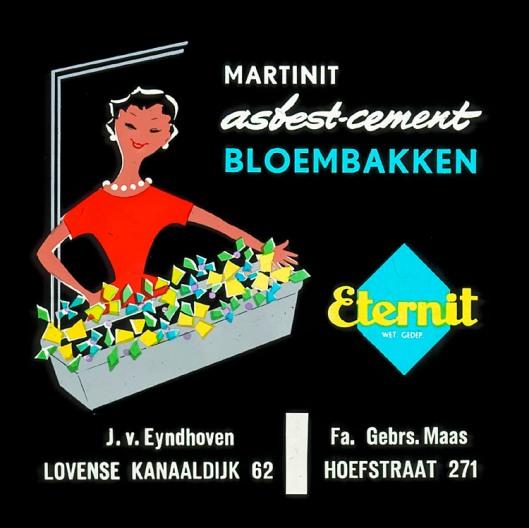 Bioscoopreclame voor Martinit asbestcement bloembakken uit omstreeks 1955.