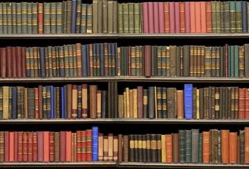 Een boekenkast in de erfgoedbibliotheek van het Hoogheemraadschap Rijnland in Leiden